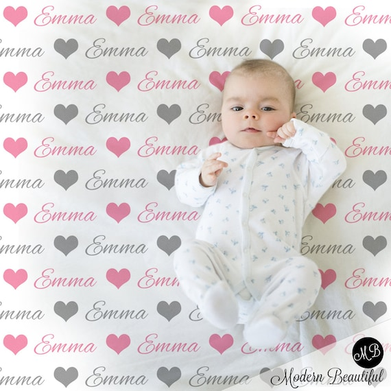 ecfac3b11 Baby Girl Name blanket in pink and gray script font with hearts ...