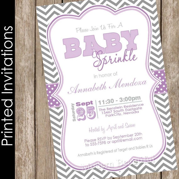 Sprinkle Baby Shower Invitation Purple And Gray Baby Shower