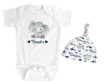 Personalized elephant baby boy bodysuit, hat or both, navy gray elephant baby boy, baby gift with name, newborn coming home, shower gift