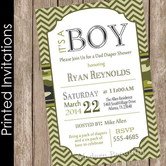 Printed Camouflage Baby Shower Invitation Army Baby Shower Etsy