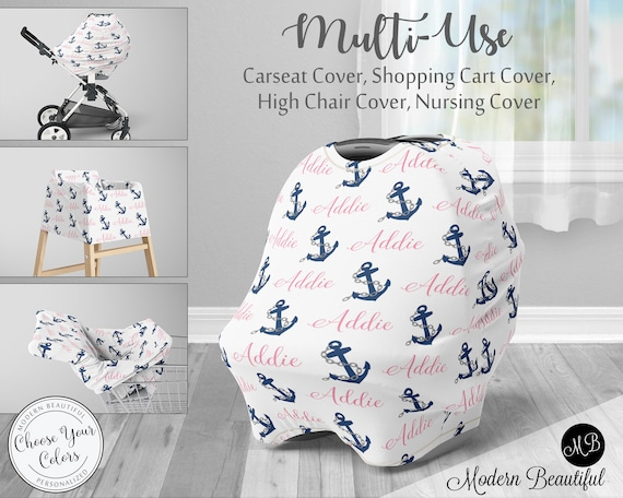 Anchor Car Seat Canopy Cover Girl Nautical Custom Infant Car Seat
