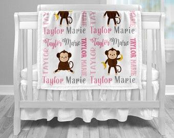 Monkey baby name blanket, blanket with monkeys and name, monkey baby gift, photo prop blanket, girl pink monkey blanket, choose colors