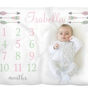Feather arrow milestone photo baby blanket girl baby blanket personalized baby gift baby growth blanket- monthly milestone baby blanket