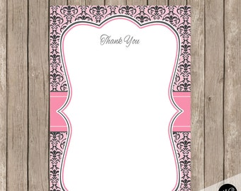 Damask Baby Shower thank you card, Thank You Note Card with damask print, baby shower thank you baby shower, damask thank you note damask1