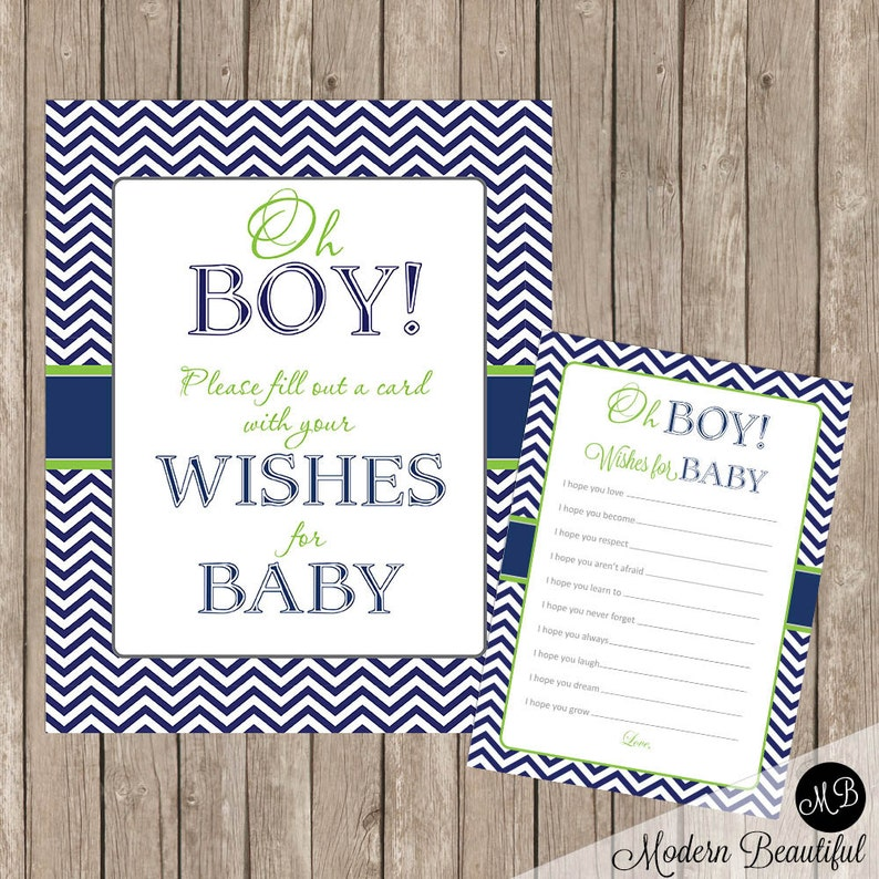 Baby Shower Wishes For Baby Card And Sign Oh Boy Lime And Navy Etsy