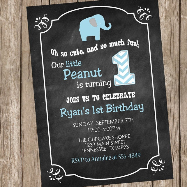 Elephant Birthday Invitation Chalkboard Boy Blue And Gray