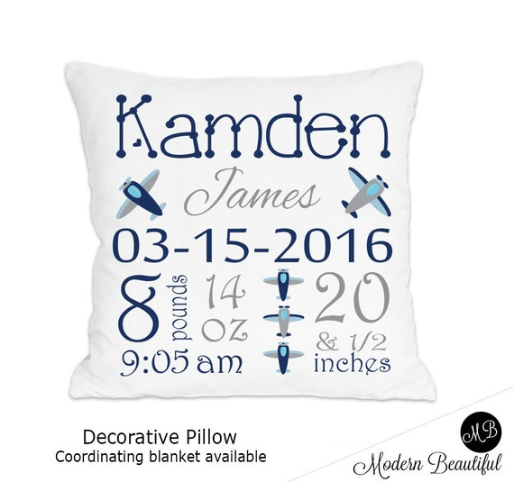 Airplane Name Pillow For Baby Boy Airplane Nursery Personalized Simple Airplane Decorative Pillow