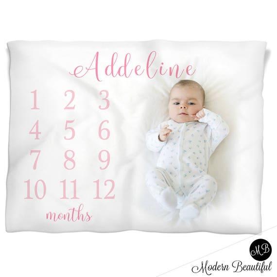 c9101b17c Girl name milestone baby blanket personalized baby gift baby | Etsy