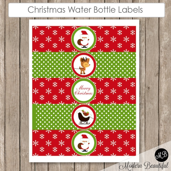 Christmas Water Bottle Labels Printable Red Snowflake And Etsy