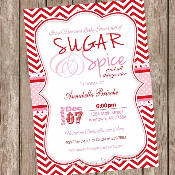 Sugar And Spice Valentine S Day Baby Shower Invitation Etsy