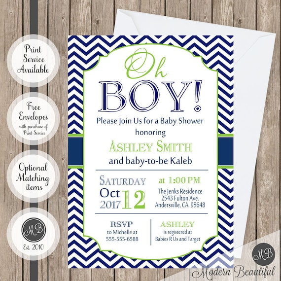oh boy baby shower invitation navy and lime green chevron printable