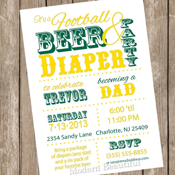 Football baby shower invitation beer and diaper invitation etsy image 0 filmwisefo