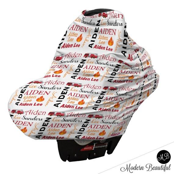Firetruck Baby Boy Or Girl Car Seat Canopy Cover Custom Infant