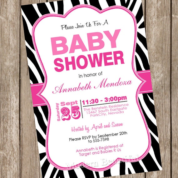 Girl baby shower invitation hot pink and black zebra baby etsy image 0 filmwisefo