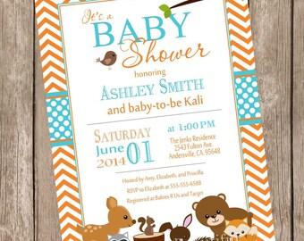 Woodland Forest Baby Shower Invitation, orange, teal, aqua, chevron, typography, printable invitation