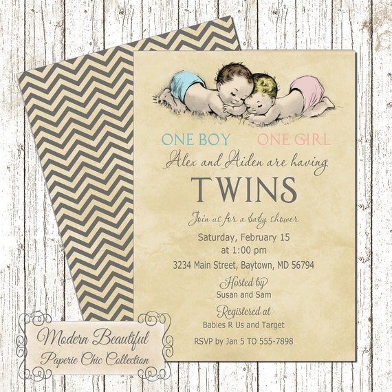 Twin Boy And Girl Vintage Baby Shower Invitation Vintage Twins
