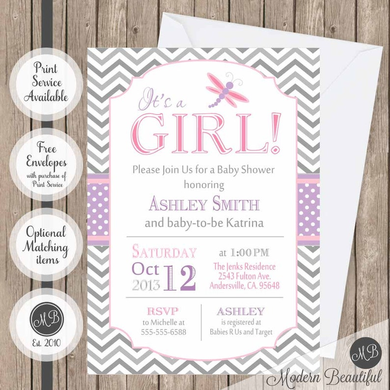 Dragonfly Baby Shower Invitation Pink And Purple Chevron Printable DFPPG