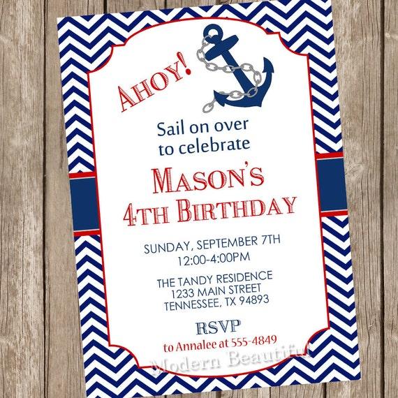 Ahoy Chevron Nautical Birthday Invitation Anchor