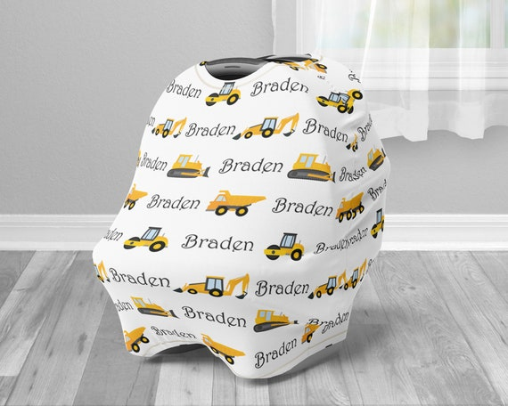 Construction Car Seat Canopy Cover Boy Custom Infant Car Seat Etsy