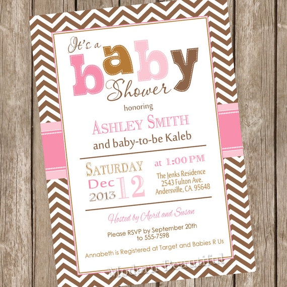 Pink And Brown Baby Shower Invitation Chevron Invitation Etsy