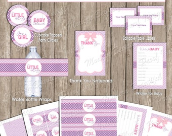 Pink and purple girl baby shower party package, chevron baby shower, pink, purple, printable (INSTANT DOWNLOAD) - ll2
