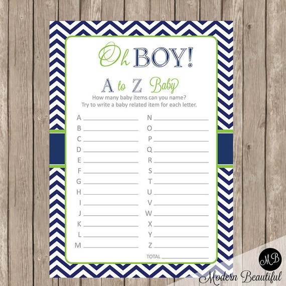 Oh Boy Baby Shower Game Lime And Navy Baby Shower Game A To Z Baby