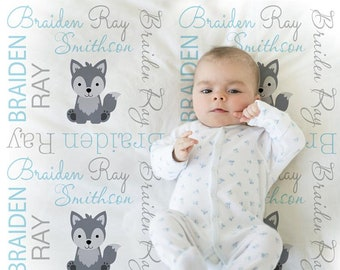 Wolf baby boy blanket in blue and gray, wolf personalized baby blanket, custom blanket, wolf gift, personalized blanket, choose colors