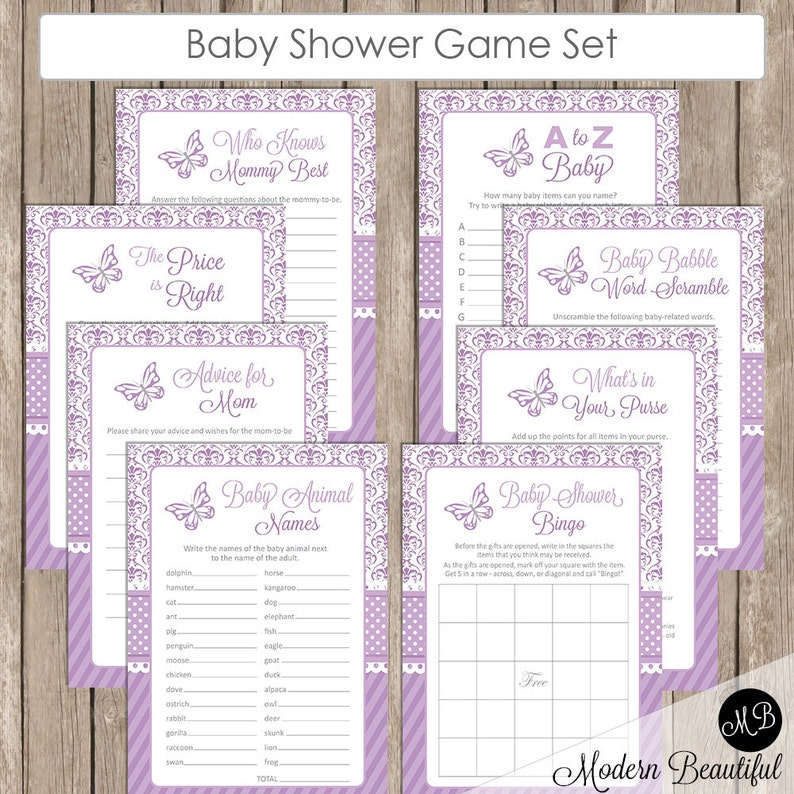 Butterfly Baby Shower Game Set - Lavender Purple and Gray- Butterfly- Baby  Shower Activity Set- Bingo- A to Z Baby- Price is Right DB01