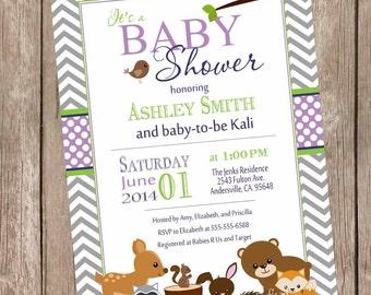 Woodland Forest Baby Shower Invitation, purple, gray, chevron, typography, printable invitation