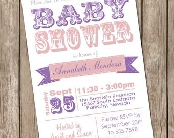 Girl baby shower invitation, typography, pink, purple, printable invitation 2013-0118-K1-1