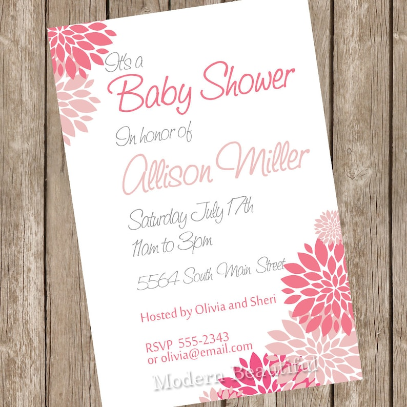 0aadc705a285 Girl baby shower invitation pink white flowers printable