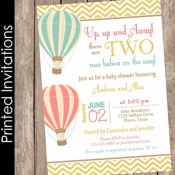 Printed Twin Girls Hot Air Balloon Baby Shower Invitation Up Up And