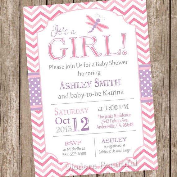 Dragonfly Baby Shower Invitation Pink And Purple