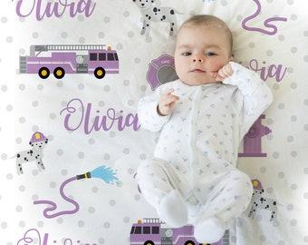 Purple girl fire truck blanket, fire fighter personalized blanket, purple firetruck baby gift, polka dot, personalized blanket, choose color