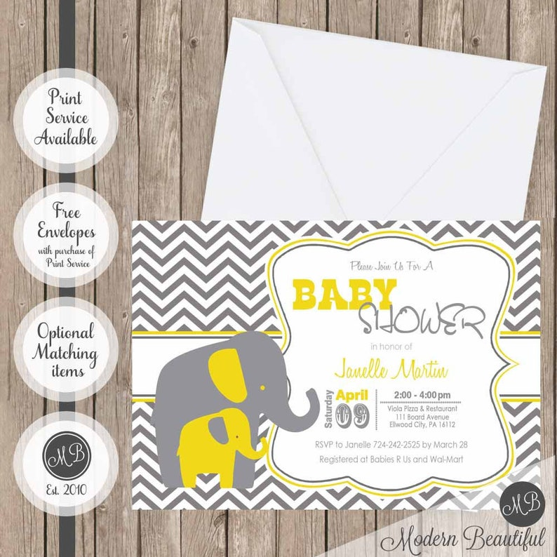 picture regarding Free Printable Elephant Baby Shower Invitations identified as Yellow and Grey Elephant child shower invitation- yellow- gray- elephant- chevron- printable invitation