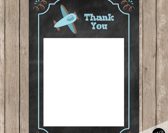 Airplane thank you note, Chalkboard Blue and Brown Plane Thank You Note - 4x6 Flat Thank You Note Card- Birthday Baby Shower INSTANT APC01