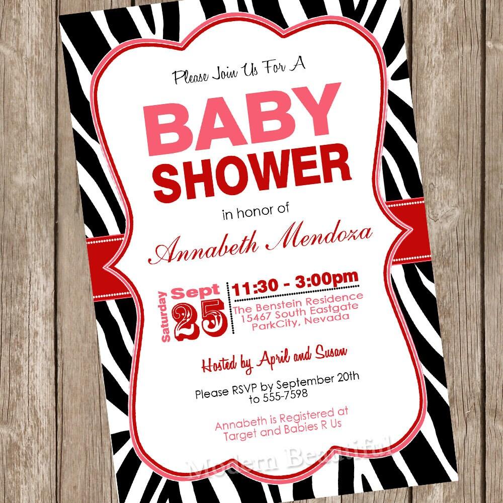 Neutral zebra baby shower invitation zebra baby shower | Etsy