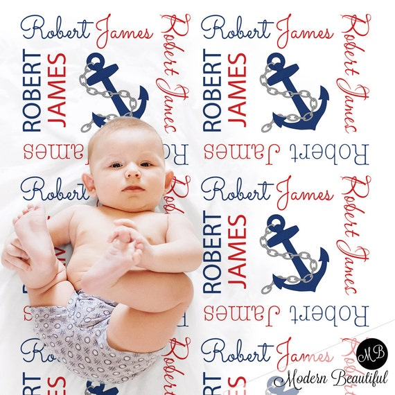 Personalized Baby Blanket Nautical Blanket Baby Swaddle Blanket Baby Name Blanket Sailboat Blanket  Custom Baby Shower Gift Anchor