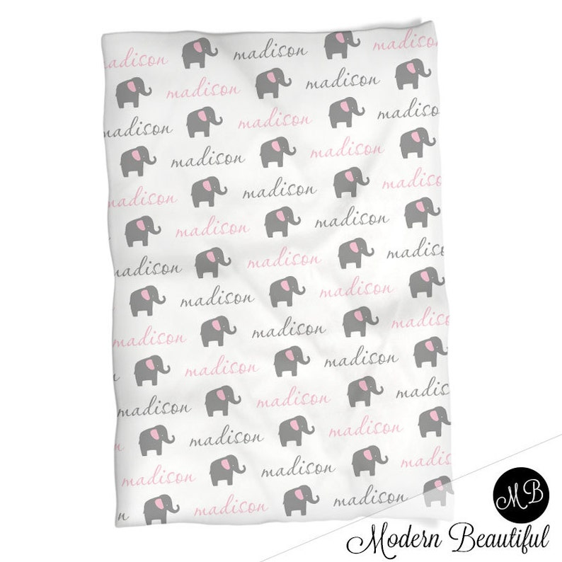 personalized blanket Pink and gray Elephant Name Blanket for Baby Girl personalized baby gift baby blanket blanket choose colors