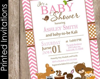 Printed Woodland Forest Baby Shower Invitation, pink, brown, chevron, typography (FREE ENVELOPES)