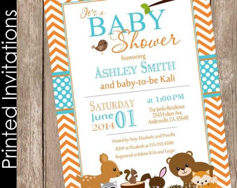 Printed Woodland Forest Baby Shower Invitation, forest and friends, orange, teal, aqua, chevron, typography (FREE ENVELOPES)