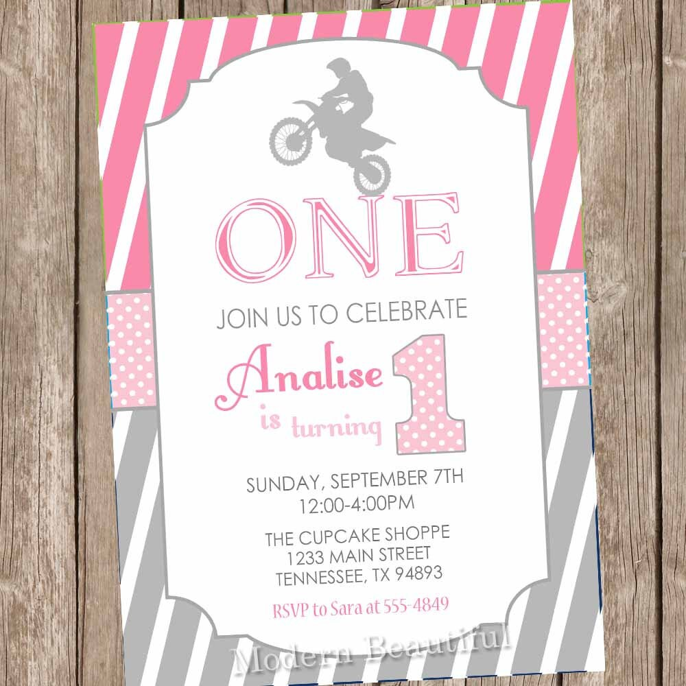 Motocross birthday invitation dirt bike 1st birthday | Etsy