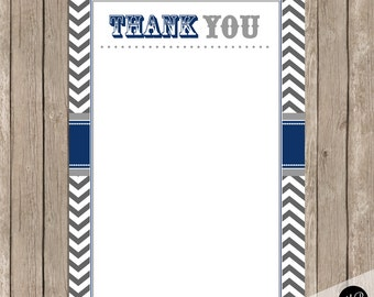 Navy and Gray thank you note, Thank You Note -  4x6 Flat Thank You Note Cards-  INSTANT DOWNLOAD DD02