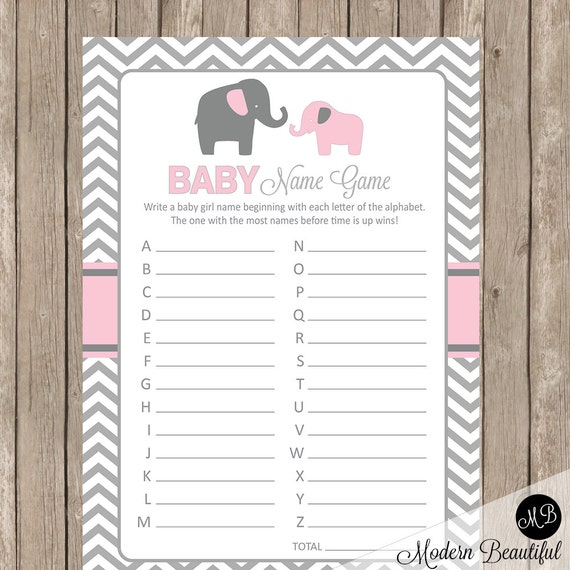 Elephant Baby Shower Game Pink and Gray Baby Shower Name