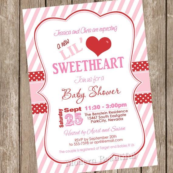 Valentine S Day Baby Shower Invitation Pink Red Chevron Hearts