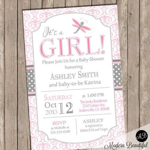 Dragonfly Baby Shower Invitation Pink And Gray
