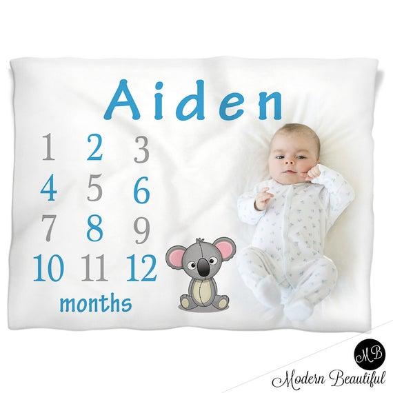 4fe378680 Koala bear milestone baby blanket- personalized baby gift- koala boy baby  blanket- monthly milestone baby blanket- baby growth blanket-