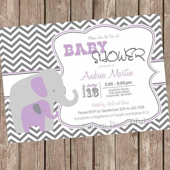 Purple And Gray Girl Elephant Baby Shower Invitation