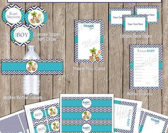 Safari Baby Shower Party Package, jungle baby shower package, chevron, purple and green, printable file(INSTANT DOWNLOAD- Safari1