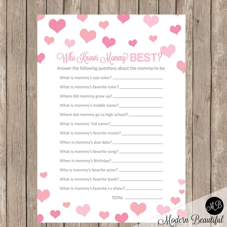 Who Knows Mommy Best Baby Shower Game Pink Hearts Baby